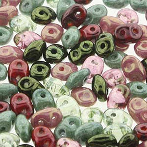 SuperDuo Antique Roses Mix 2.5x5mm 2 Hole Beads Czech Glass Seed Beads 100 Gram Bag