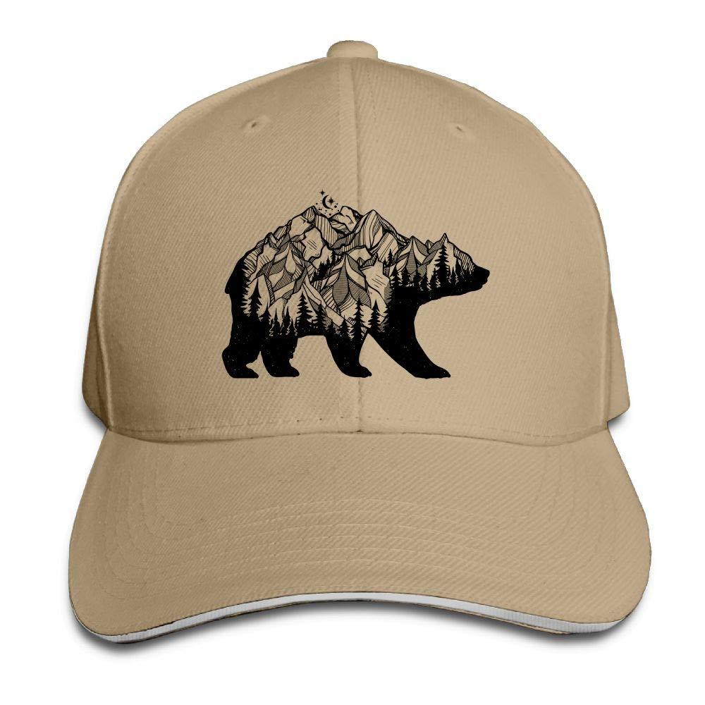 Bear Nature Forest Rocky Moonwalk Outdoor Sandwich Duck Tongue Cap Adjustable Baseball Hat Trucker Cap