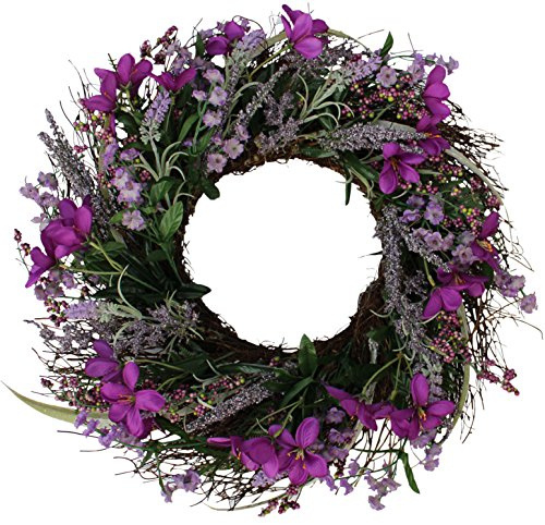 (The Wreath Depot Lavender Blossom Silk Spring Door Wreath, 20 Inch)