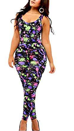 d3096c9ecddf Amazon.com  Stylish Sexy Unique Scrawl Black Colorful Sleeveless New  Bodycon Jumpsuit Romper  Clothing