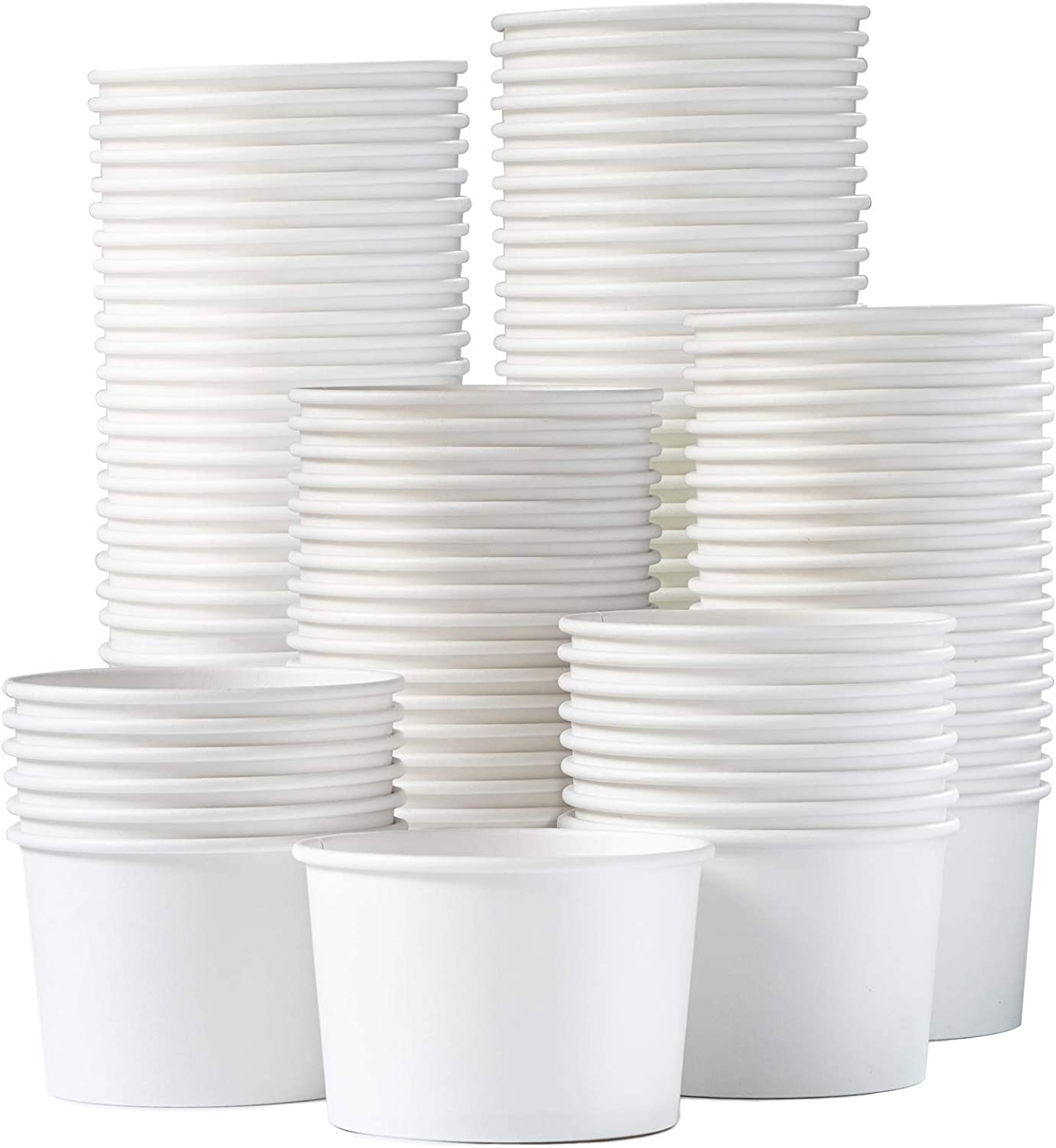 Paper Ice Cream Cups - 100-Count 9-Oz Disposable Dessert Bowls for Hot or Cold Food, 9-Ounce Party Supplies Treat Cups for Sundae, Frozen Yogurt, Soup, White