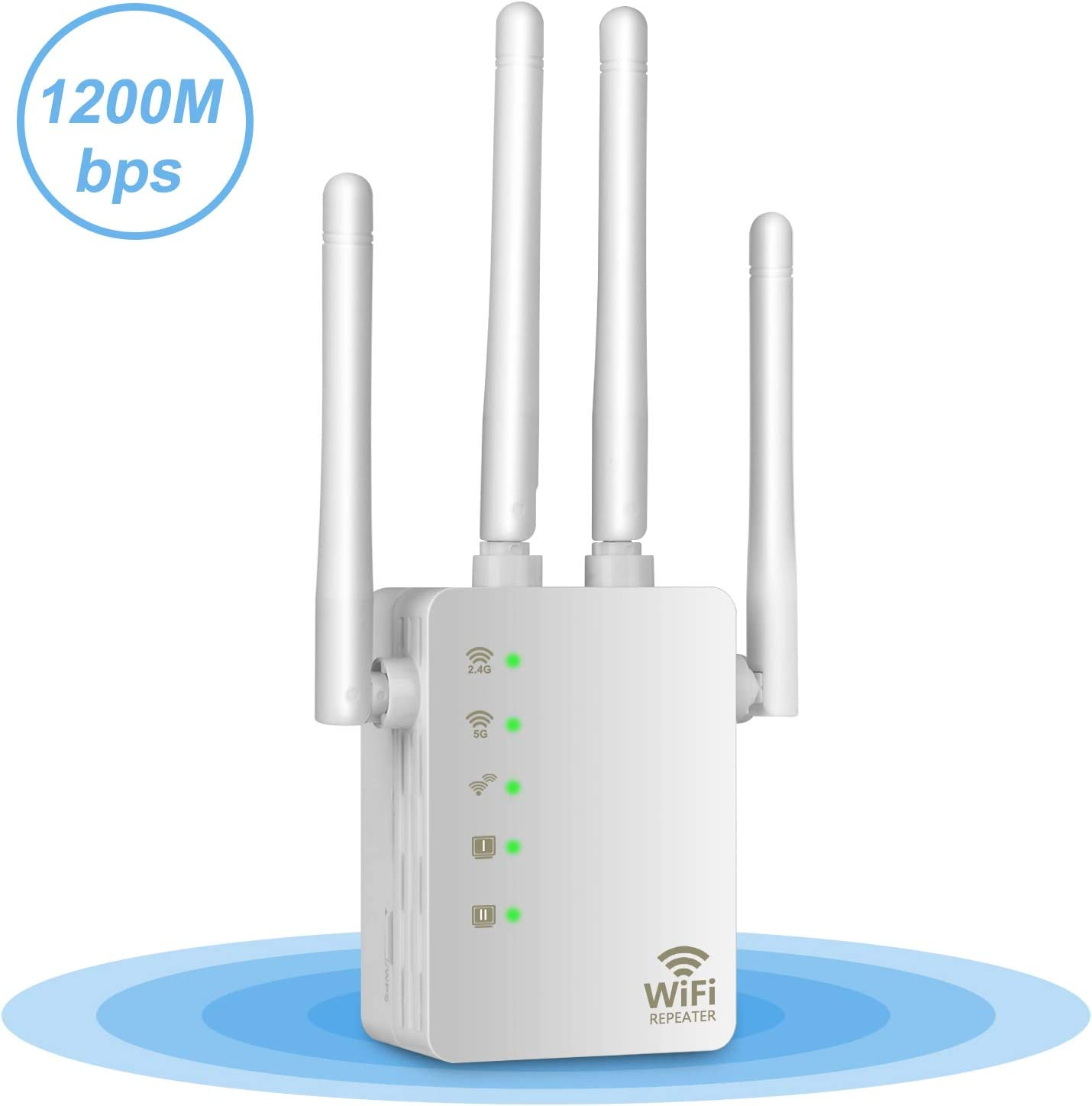 Upgraded 2020 WiFi Extender - 1200Mbps Dual Band Signal Booster Range Extender Wireless Repeater Amplifier 5GHz for Router/Modem, Easy Set-Up, 4 Antennas, Extends WiFi to Smart Home & Alexa Devices