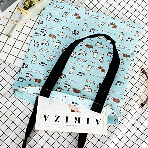 Strap Cat Bag Blue Tote Eco cute Linen YILE Cotton Shoulder Black Print Casual Base xqzOnaR