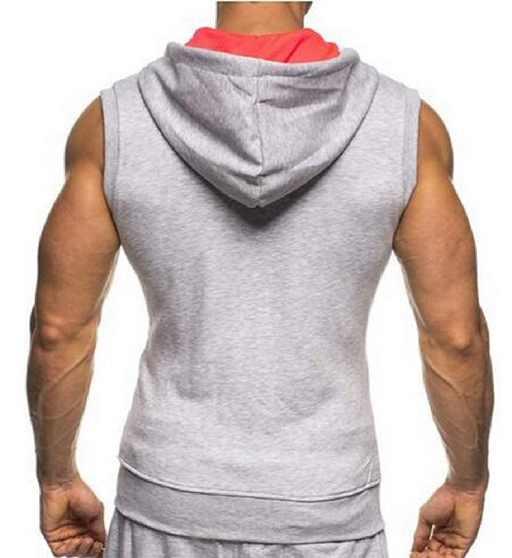 OTW Mens Gym Workout Casual Hoodie Zip Up Sleeveless Contrast Athletic Tank Top Vest