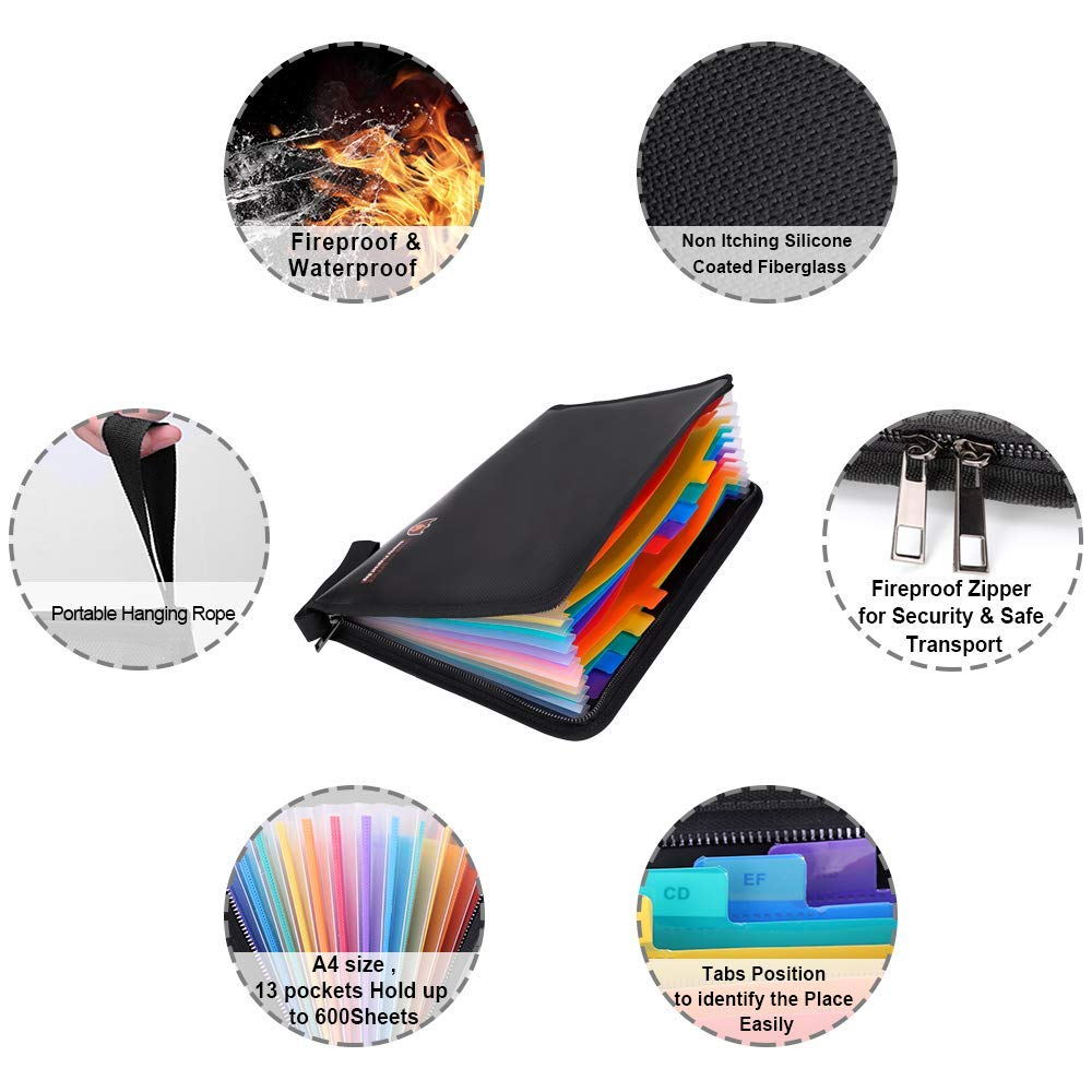 Fireproof File Folder, igingko 13 Pockets Expanding Organizer, A4 Letter Size Document Holder, Zipper Closure Non-Itchy Silicone Coated Portable Filing Pouch (Colorful 13 Pockets) by igingko (Image #4)