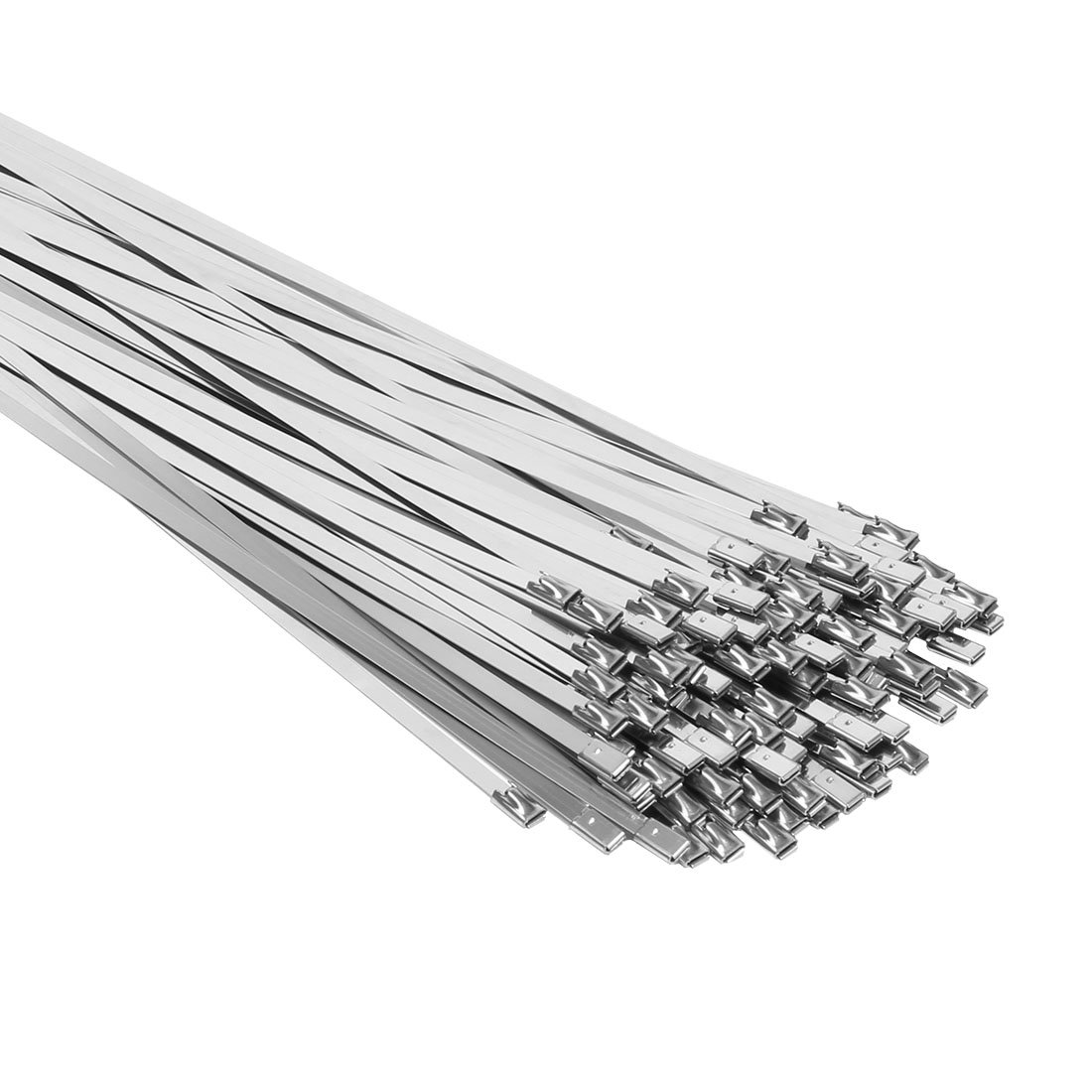 uxcell 100pcs 15.7 Inches Stainless Steel Exhaust Wrap Coated Locking Cable Zip Ties a16091300ux1047