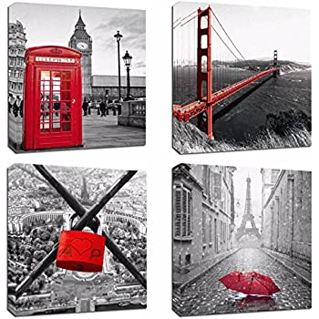 4Pcs 12x12 Canvas Wood Stretched Building City Golden Gate Bridge London Red Telephone Pavilion Eiffel Tower Frame Landscape Modern Art for Room Office Wall Decor Zen Yoga Ocean Beach Jetty inch