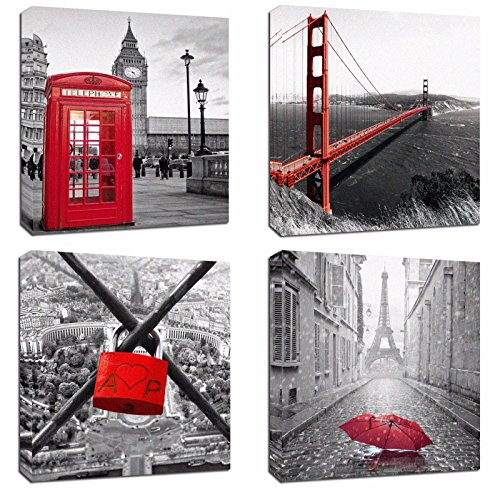 4Pcs 12x12 Canvas Wood Stretched Building City Golden Gate Bridge London Red Telephone Pavilion Eiffel Tower Frame Landscape Modern Art For Home Room Office Wall Print Decor 12x12