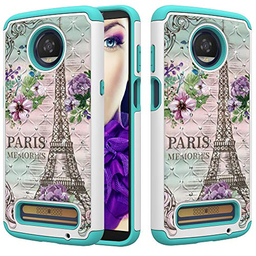 e for Moto Z3 Play/Moto Z3, [Hard PC+Soft Silicone+Bling Rhinestone] Dual Layer 2 in 1 Hybrid Case Retro Rose Tower Pattern Stylish Diamond Shockproof Full-Body Protective Cover ()