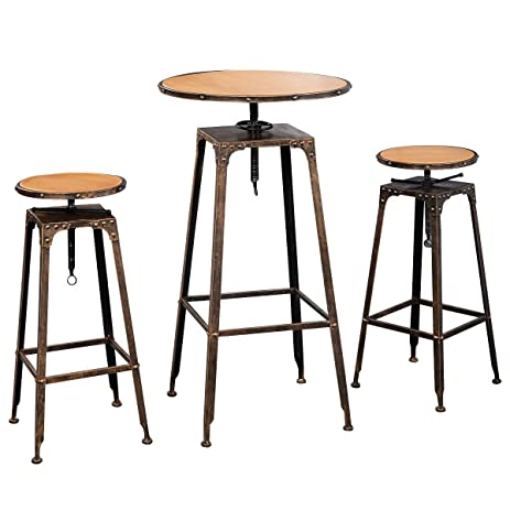 Waybackhome 3PC Industrial Bistro Table Set Adjustable High Bar Chair Antique  Vintage Metal Design