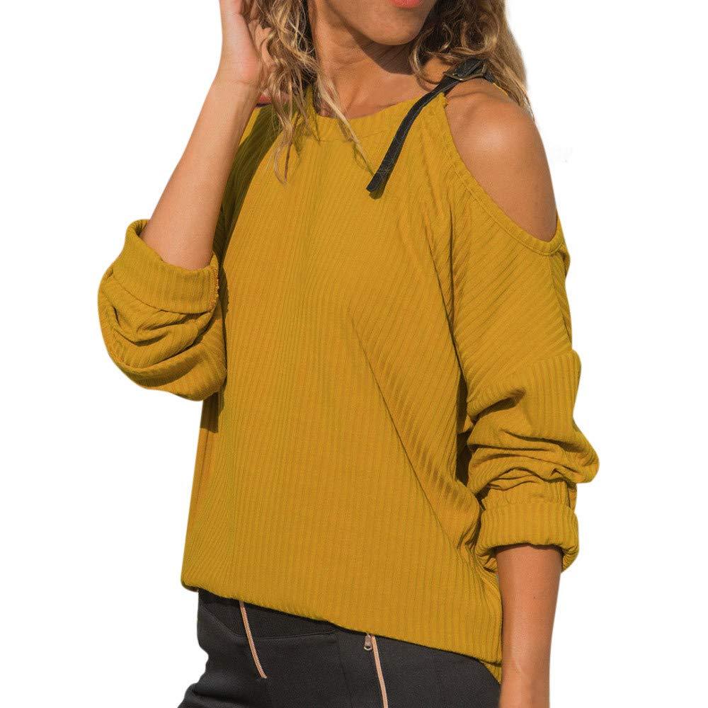 Luckycat Las Mujeres del otoño O Cuello de Manga Larga de algodón Casual Hombro Camiseta Blusa Tops: Amazon.es: Ropa y accesorios