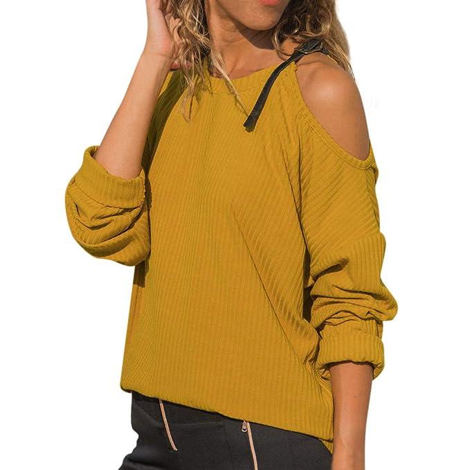 Luckycat Las Mujeres del otoño O Cuello de Manga Larga de algodón Casual Hombro Camiseta Blusa