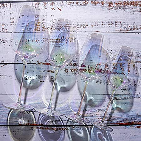Copas De Vino Iridiscente Copa De Vino Dos,Borgoña Uvas Rojas Copa De Vino,Copa Sin Plomo Terrier Largo Cristalería,Para Rojo Blanco Vino Copa 2 Sets,Familia Bar,Ocasiones Especial-Y 400ml 23cm(9inch)