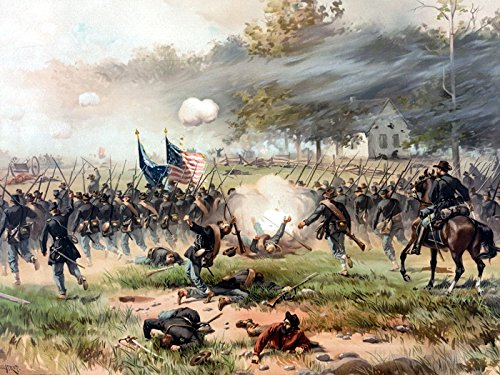 Battle of Antietam American Civil War Painting Art 32x24 Print Poster - Paintings Civil War