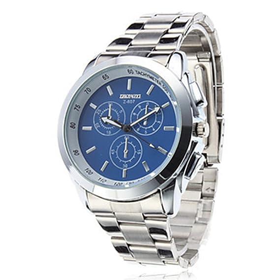 De los nuevos hombres de llegadas de la venta de la manera de los relojes de cuarzo de pulsera al por mayor del Pin Tres Ey: Amazon.es: Relojes
