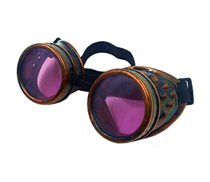 4838972d4c Amazon.com  Glasses KING Vintage Steampunk Goggles Cosplay Goggles With  Elastic Band And Purple Lens - Retro Victorian Cosplay Steampunk Goggles(Copper  ...