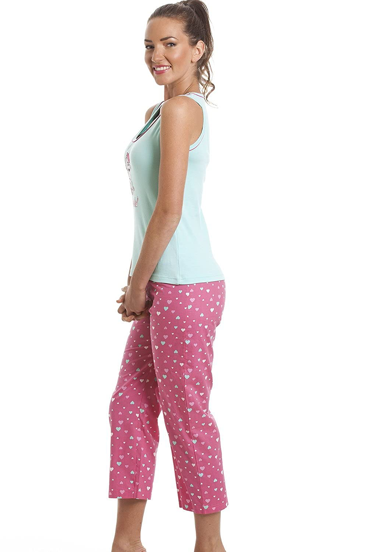 Camille Womens Ladies Aqua Oh La La Poodle Print Capri Pajama Set ...