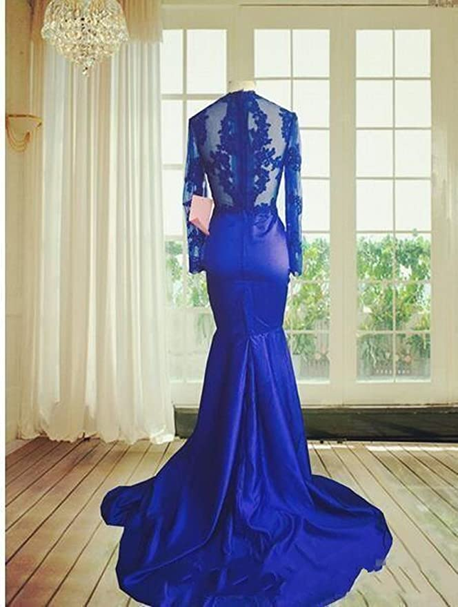 Graceprom 2018 Royal Blue Mermaid Prom Dress Lace Appliques Long Sleeves Evening Dress at Amazon Womens Clothing store: