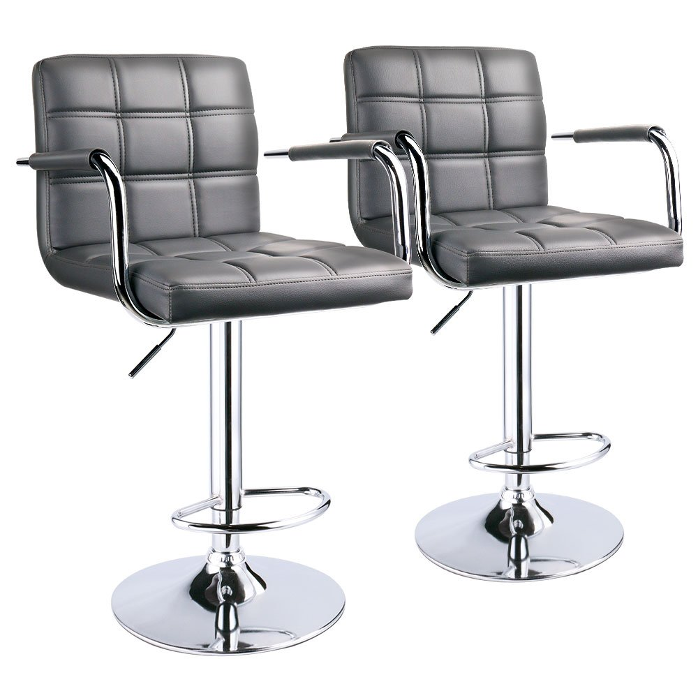 Leopard Grey Modern Square Back Adjustable Bar Stools with Arm Rest, Set of 2
