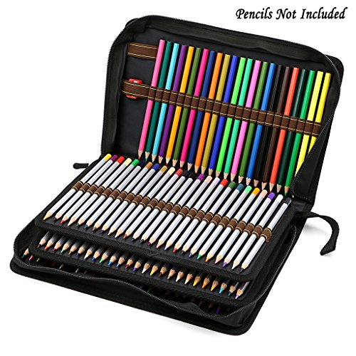 btsky 150 slots pencil case canvas zipper pencil holder. Black Bedroom Furniture Sets. Home Design Ideas