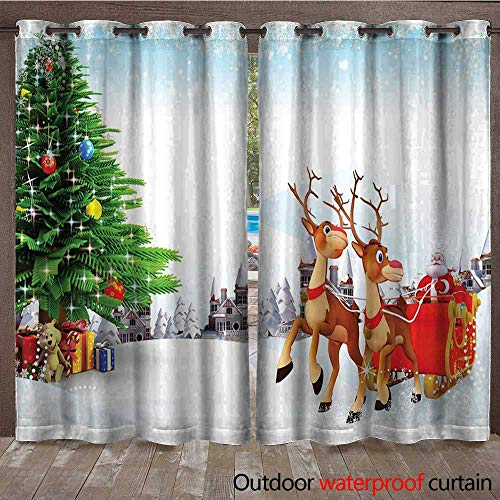 ape for Pergola Curtain Snow Covered Christmas Village with Cartoon Santa on His Sleigh Big Tree and BoxesW120 x L108 Multicolor ()