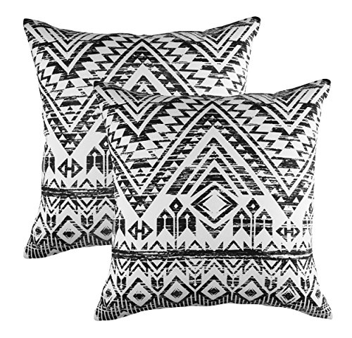 (TreeWool Decorative Square Throw Pillow Covers Set French Accent 100% Cotton Cushion Cases Pillowcases (18 x 18 Inches / 45 x 45 cm; Black in Cream Background) - Pack of 2)