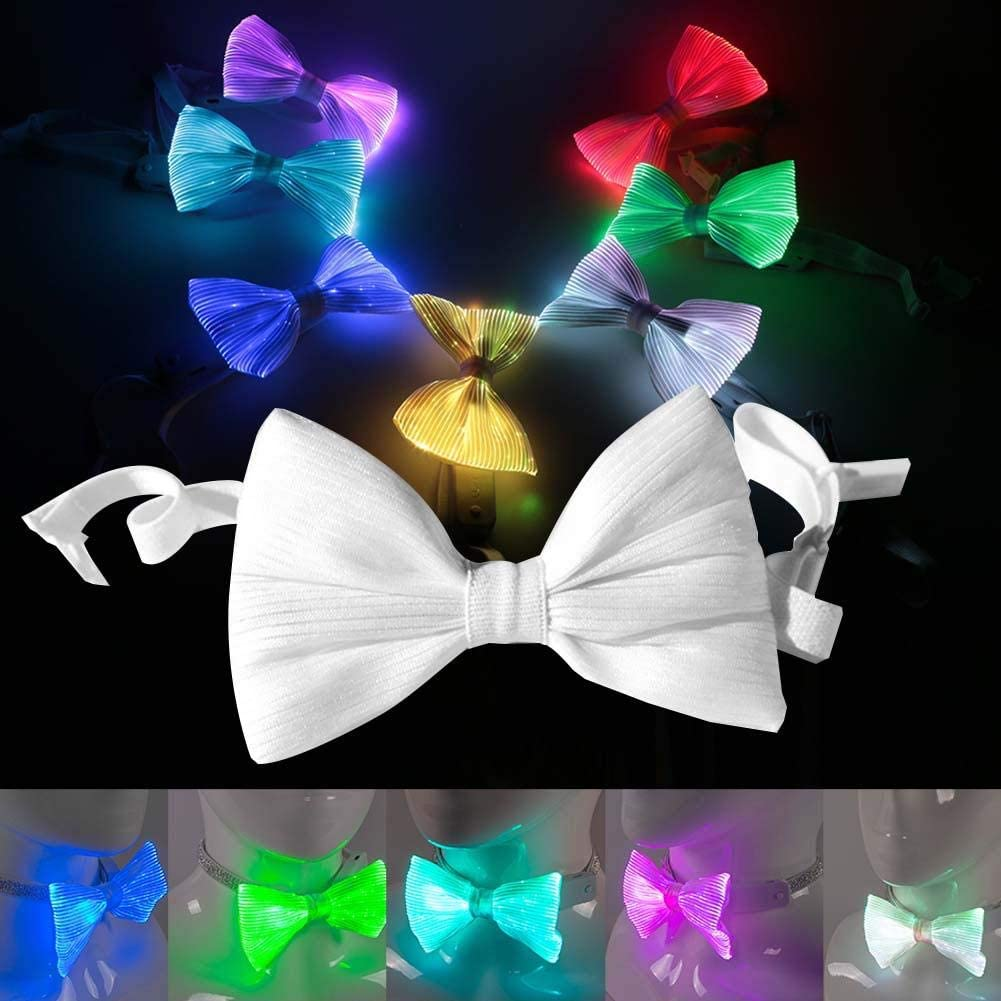 Men Women Unisex Fashion Light Up Neck Ties for DJ Bar Club Party Colorful Luminous Bow Tie