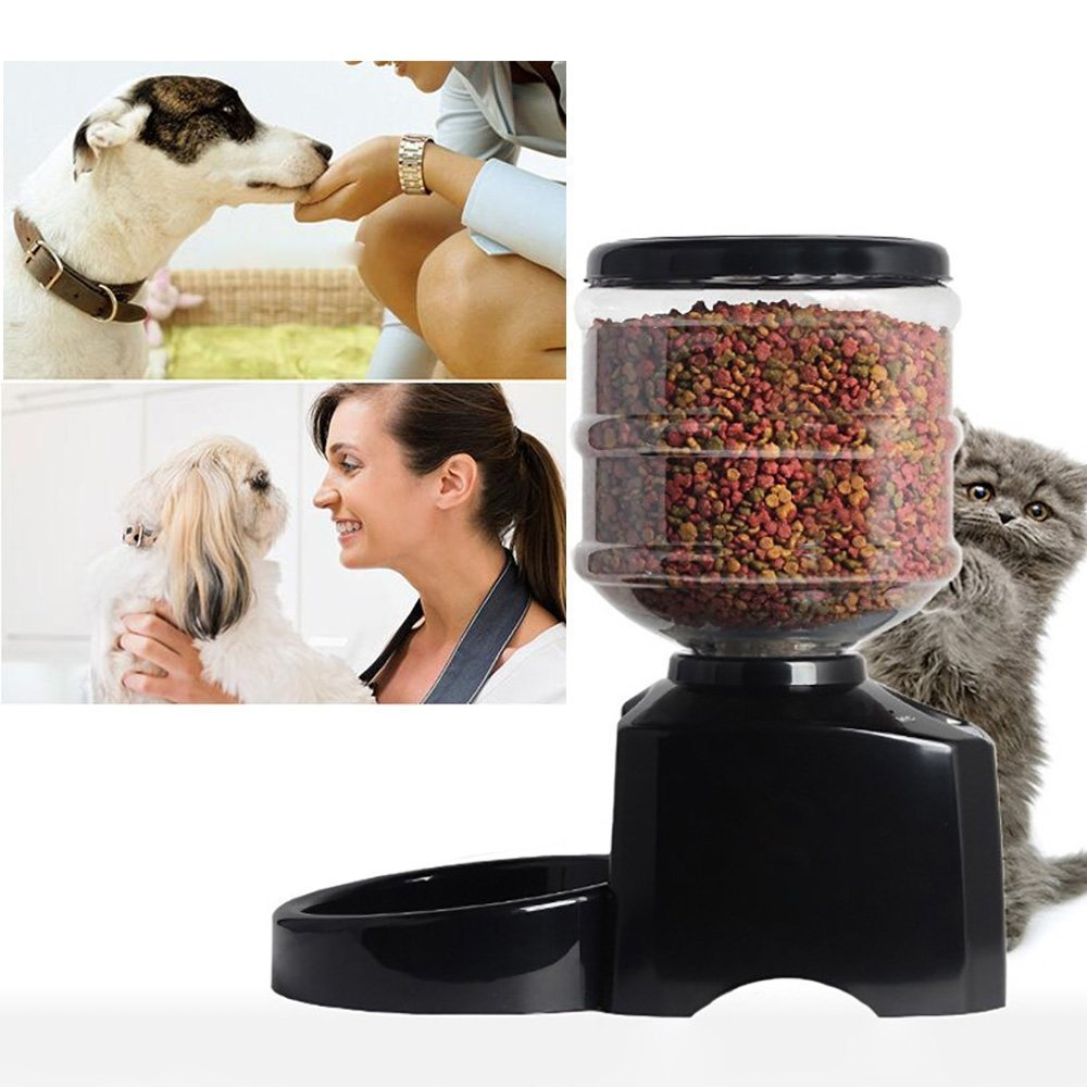 Haoren 5.5L Automatic Pet Feeder, Recordable Dog Cat Dry Food Container with LCD Screen by Haoren (Image #3)