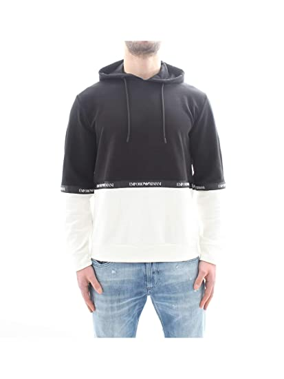 a basso prezzo e6db0 0b082 EMPORIO ARMANI Mens Pullover Logo Tape Hoodie: Amazon.co.uk ...