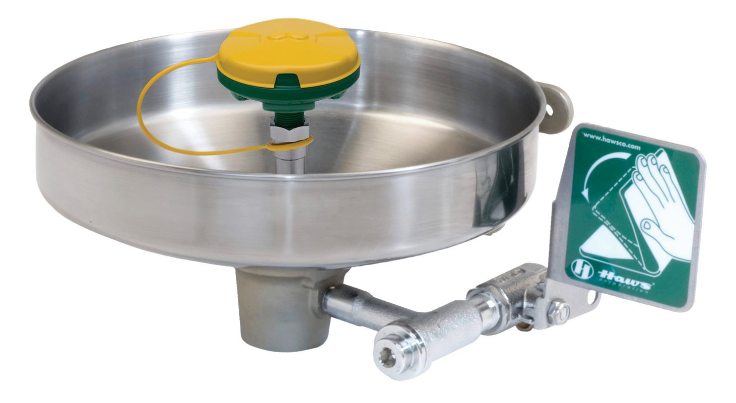 Haws 7360B-7460B Wall Mounted Stainless Bowl Eye/Face Wash with Axion MSR Eye/Face Wash Head
