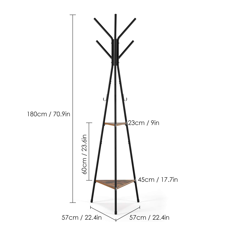 Homfa Appendiabiti da Terra Abbigliamento Appendere Triangolo 2 Ripiani per Borsa Scaffale Attaccapanni Stutturra Metallo 49 x 49 x 180 cm