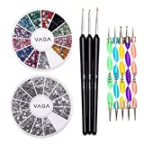 High Quality Professional Nail Art Set Kit With Pack of Silver Gems Rhinestones Crystals, Premium Manicure 12 Colours Gemstones Wheel, Fine Detail Wooden Nailart Brushes and Double Ended Dotting Marbling Tools By VAGA®