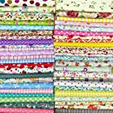 Arts & Crafts : flic-flac 200pcs 4 x 4 inches (10cmx10cm) Cotton Craft Fabric Bundle Squares Patchwork Lint DIY Sewing Scrapbooking Quilting Dot Pattern Artcraft