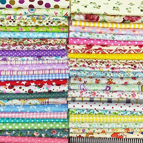 flic-flac 200pcs 4 x 4 inches (10cmx10cm) Cotton Craft Fabric Bundle Squares Patchwork Lint DIY Sewing Scrapbooking Quilting Dot Pattern Artcraft