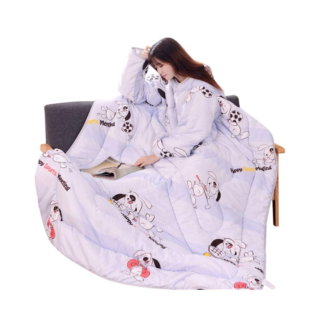 callm Winter Lazy Quilt with Sleeves Quilt Winter Warm Thickened Washed Quilt Blanket (B, 120x160 cm) by callm