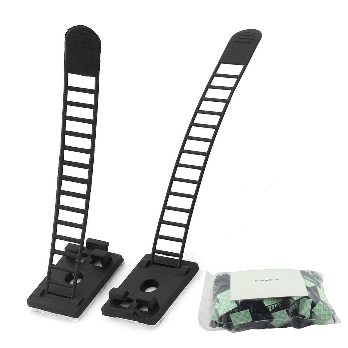 100pcs 91mm Adjustable Self Adhesive Cable Clips Wire Organizer with Optional Screw Mount for Electric Wiring Accessories Cable Clamp Clips Fixed Fasten Cable Tie Black