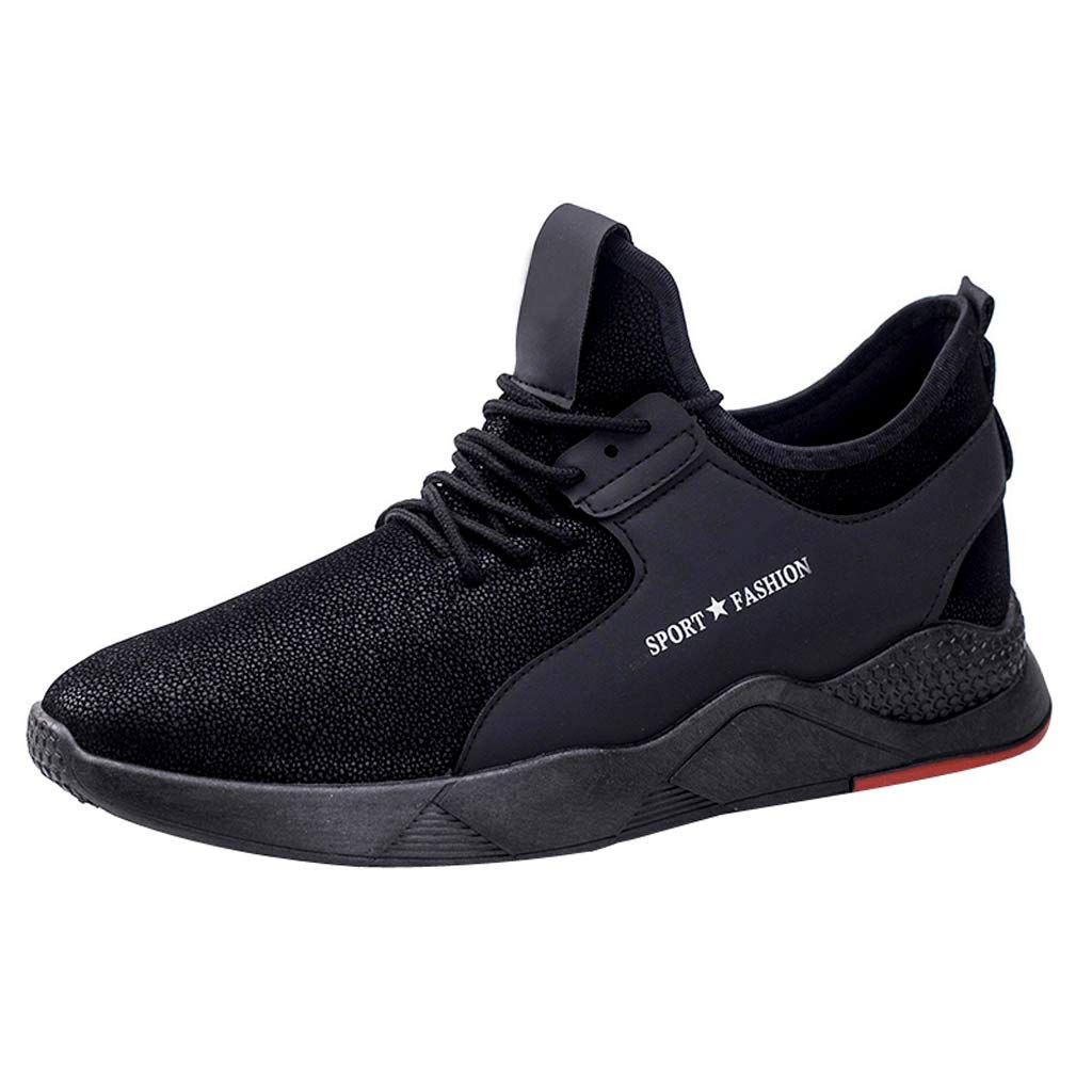 HAALIFE◕‿mesh top Sneakers for Mens Casual lace up Walking Running Gym Sneakers Comfortable Upper Sneakers Black
