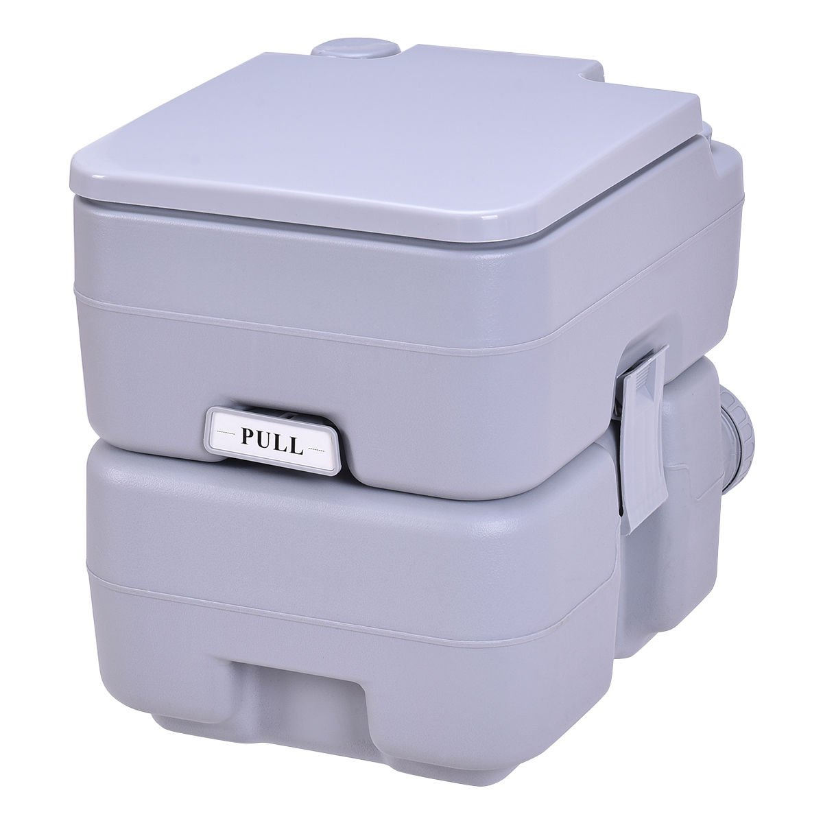 Gray 20L Easy Carry & Clean Portable TravelFlush Toilet Adult Sized Seat w/ Secure Clamps & Latches