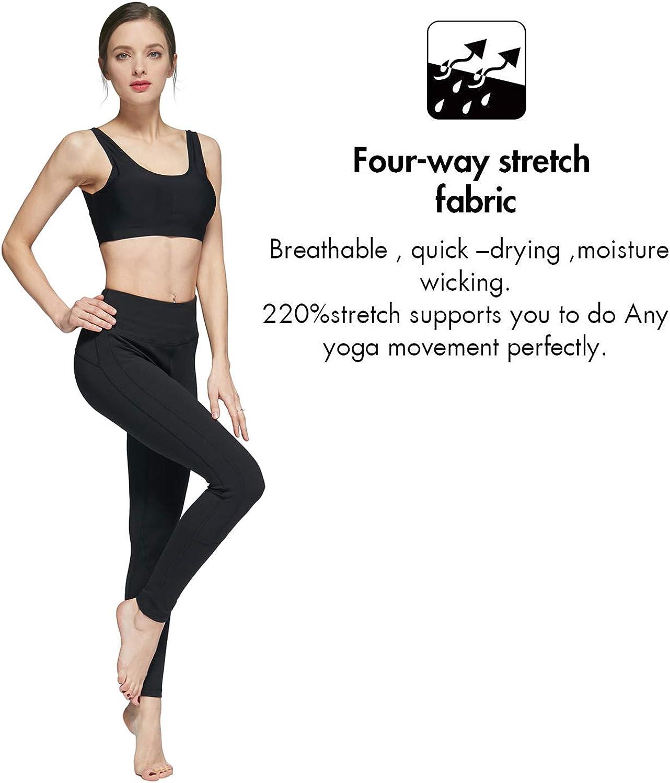 THsecret High Waist Yoga Pants Yoga Pants Tummy Control Workout Running 4 Way Stretch Yoga Leggings Navy