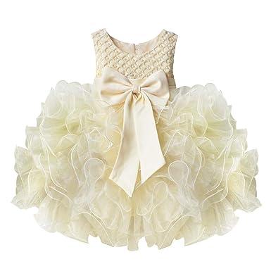 IEFIEL Vestido de Fiesta Boda Bautizo Comunion para Bebé Niña (3 Meses-4 Años) Vestido en Tutu de Vestido Princesa sin Mangas Verano Elegante