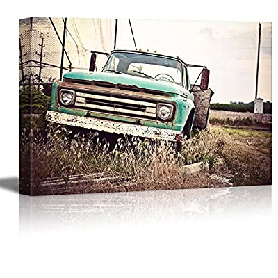 Canvas Prints Wall Art - Old Rusty Car Along Historic US Route 66 | Modern Wall Decor/Home Decoration Stretched Gallery Canvas Wrap Giclee Print. Ready to Hang - 32