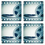 MSD Square Coasters IMAGE 29979612 Old motion picture film reel with film strip Vintage background