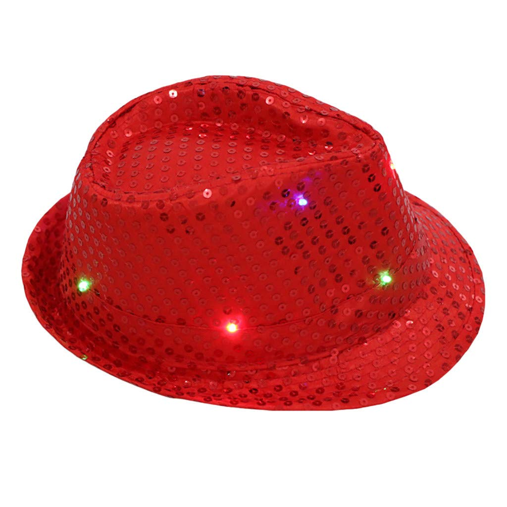 lotus.flower Unisex Fancy Dress Dance Party Hat Sequin LED Light Up Flashing Colorful Hat (Red)