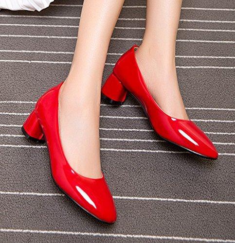 Aisun Abbigliamento Da Donna Professionale Da Lavoro Slip On Dress Toe Tacco Grosso Scarpe Con Tacco Medio Rosso