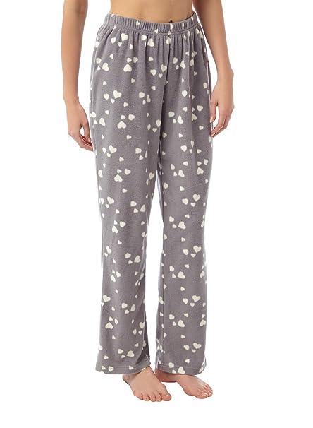 a98331b43 i-Smalls Women s Snuggly Warm Fleece Pyjama Bottoms (10-12) Grey Hearts