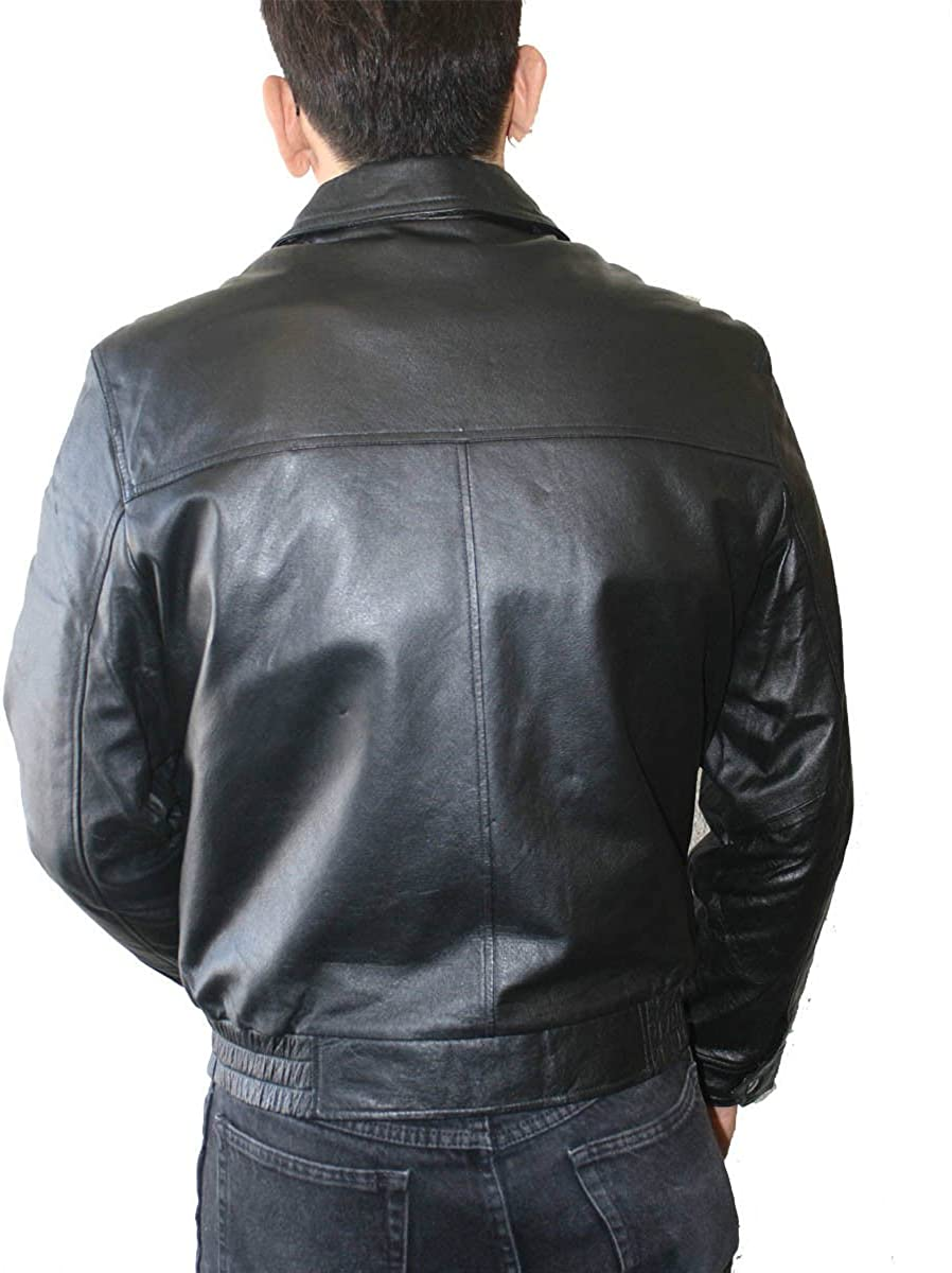 Men Short Waist Genuine Leather Casual Classic Basic Bomber Zipper