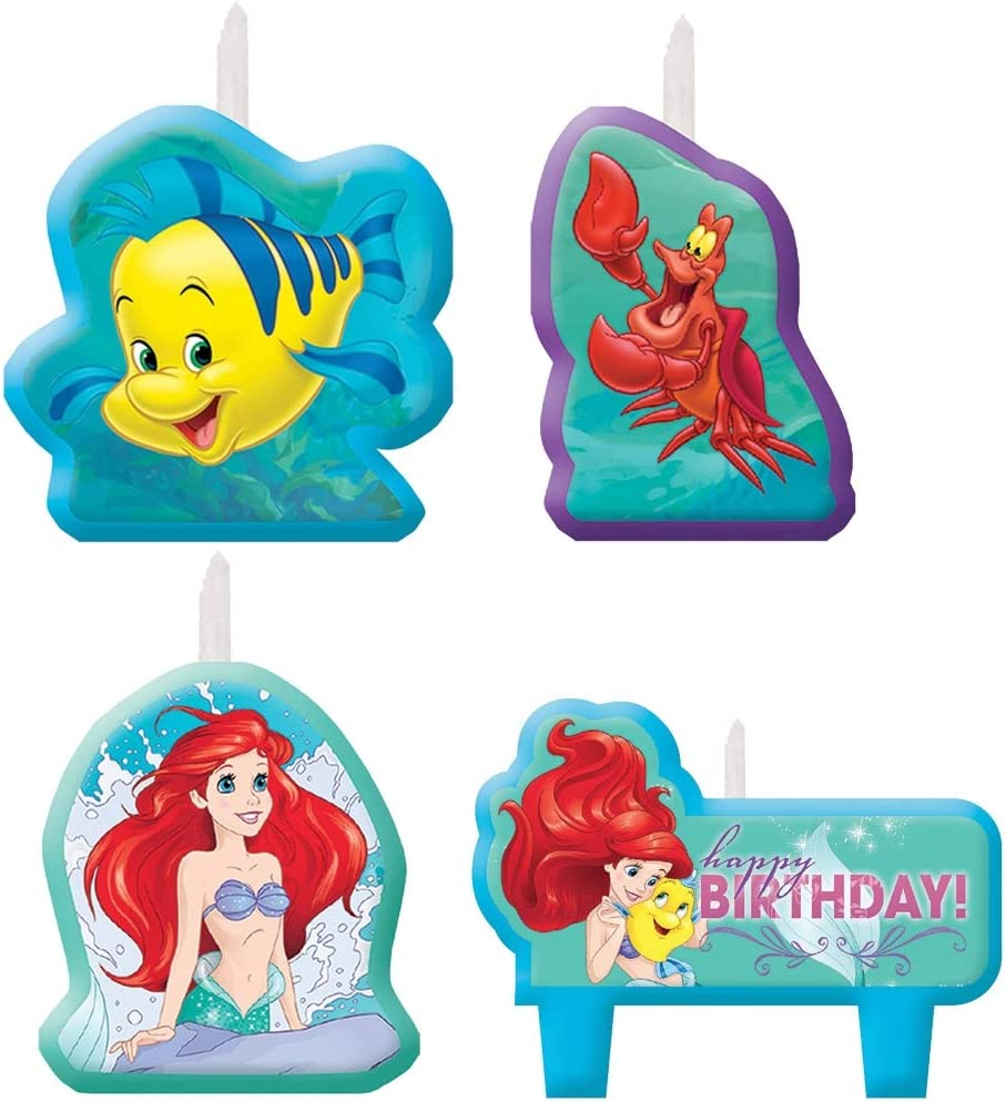 Disney Little Mermaid Birthday Candles , Set of 4