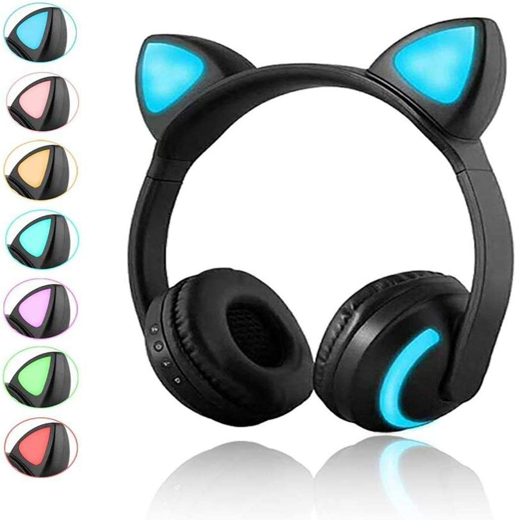 Eubell Wireless Bluetooth Cat Ear Headphones with Mic 7 Colors LED Light Flashing Glowing On-Ear Stereo Headset Compatible with Smartphones Tablet