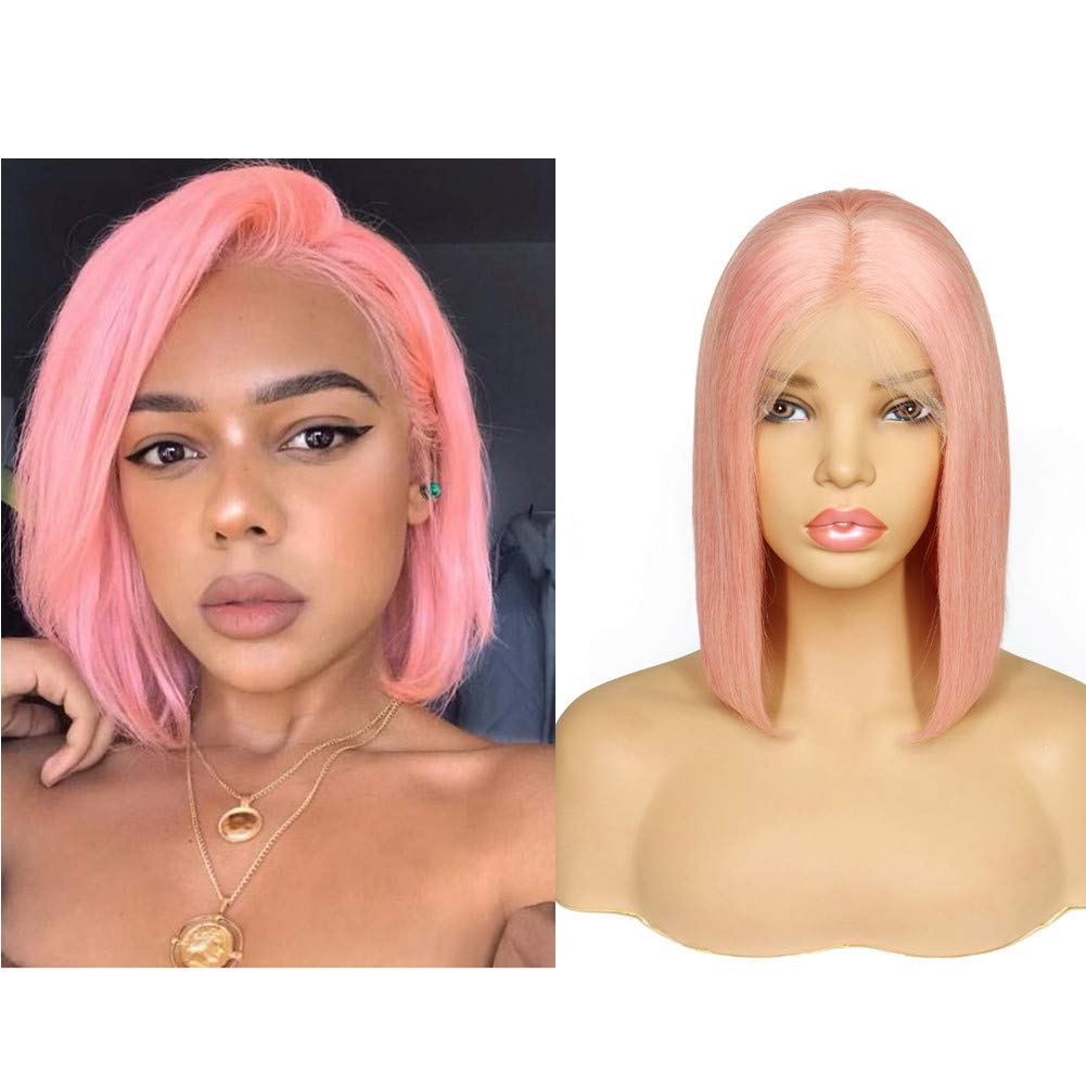 Loviness Short Bob Wig Pink Human Hair Wigs 8'' 10'' 12'' 14'' Middle Part Lace Front Silky Straight Hair Wigs 180% Density 13X4 Frontal Pre Plucked(14 inches)