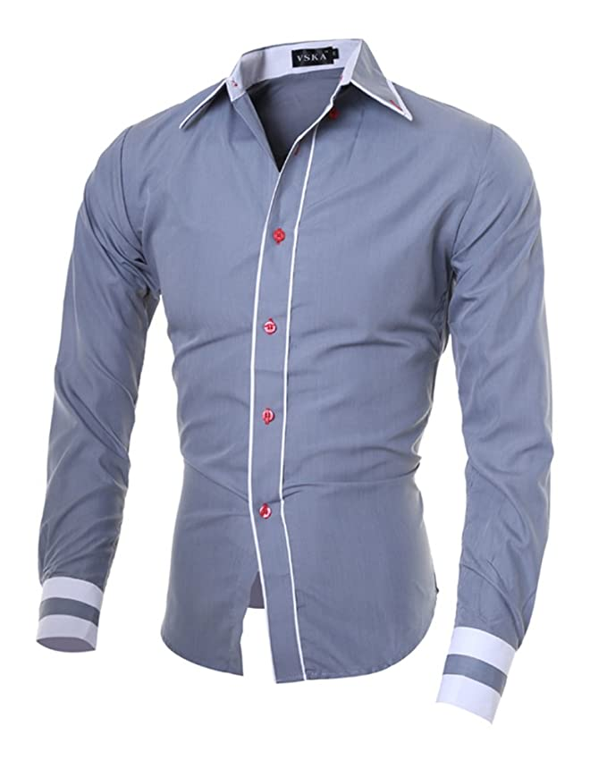 DianShao Hombre Casual Transpirable Slim Fit Manga Larga Camisa Costura Tops Shsht